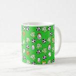 Footballs Green White Shirts & Fans Larger Pattern Coffee Mug