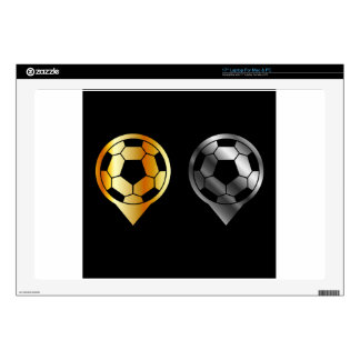 """Footballs inside gold and silver placement 17"""" laptop decals"""