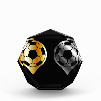 Footballs inside gold and silver placement award
