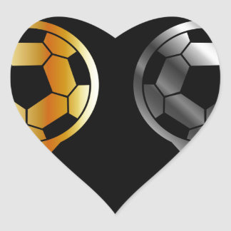 Footballs inside gold and silver placement heart sticker