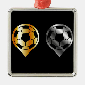 Footballs inside gold and silver placement metal ornament