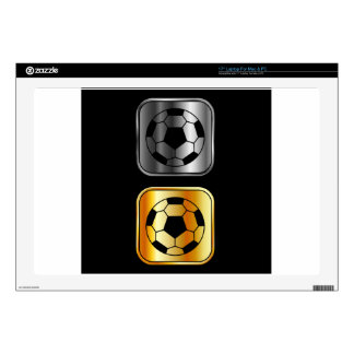Footballs on black background decal for laptop