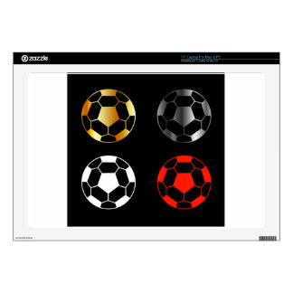 Footballs on black background decals for laptops