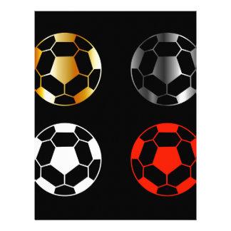 Footballs on black background letterhead