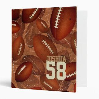 Footballz! sports pattern his name jersey number binder