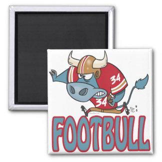 Footbull funny football bull cartoon 2 inch square magnet