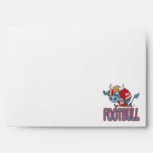 Footbull funny football bull cartoon envelopes