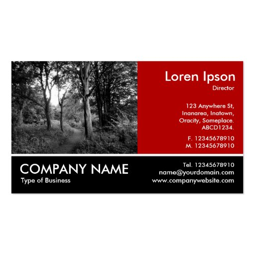 Footed Photo - Ruby Red - In the Woods Business Card