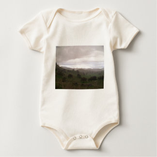 Foothills and mist baby bodysuit