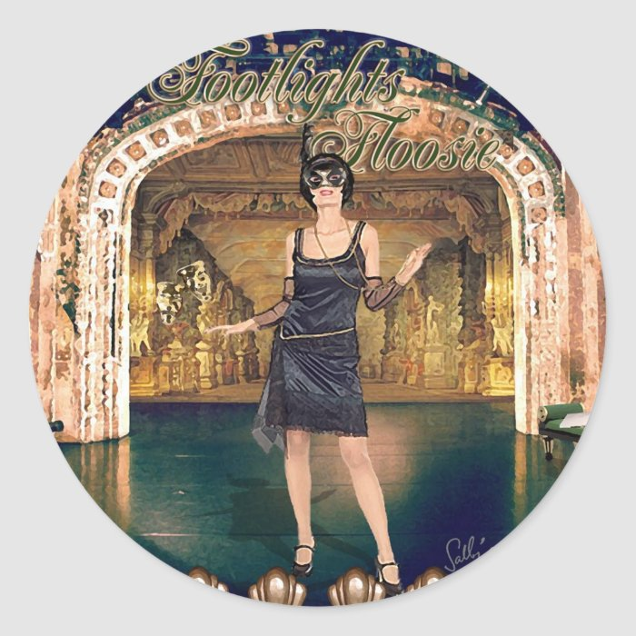 Footlights Floosie Montage Classic Round Sticker