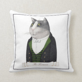 Footman Cat Square Throw Pillow (white back)