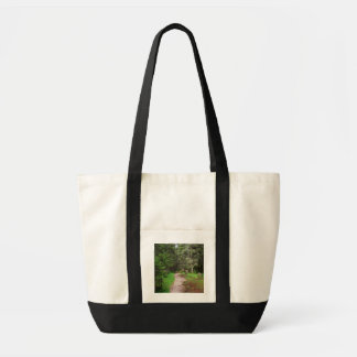 footpath on forest tote bag
