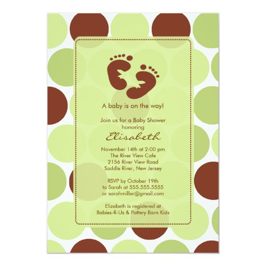 Footprint Baby Shower Invitation Green Polka Dots