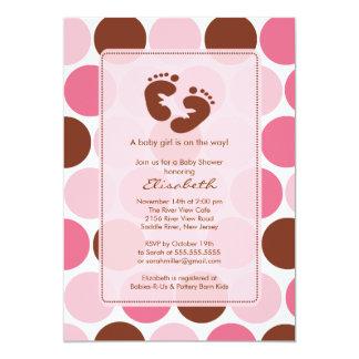 Footprint Baby Shower Invitation Pink Polka Dots