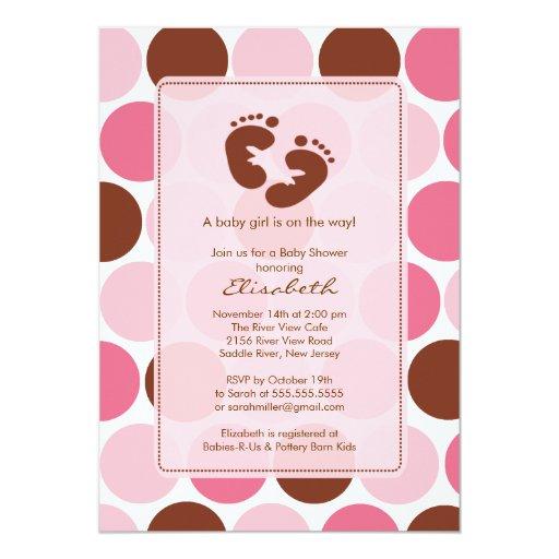 "Footprint Baby Shower Invitation Pink Polka Dots 5"" X 7"" Invitation Card"
