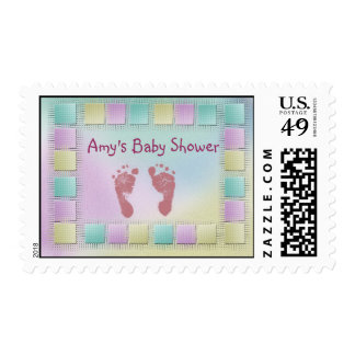 Footprint baby shower stamps