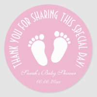 Footprint babyshower party favor thank you sticker