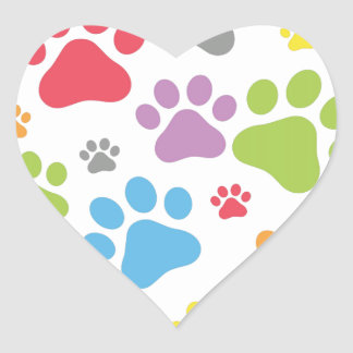 Footprint Dog Heart Sticker