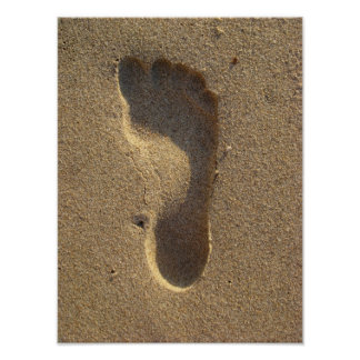 Footprint in beach sand poster