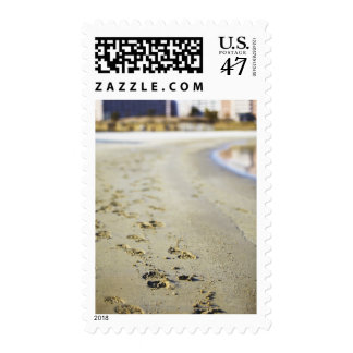 Footprint in coast. postage