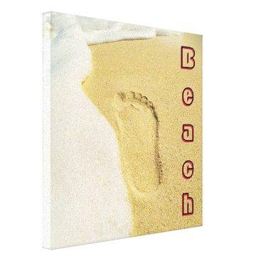 Beach Themed Footprint In The Sand Canvas Print