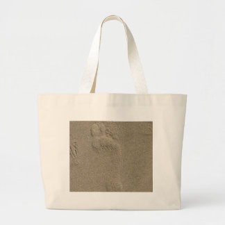 Footprint in the Sand Photography Art Canvas Bags