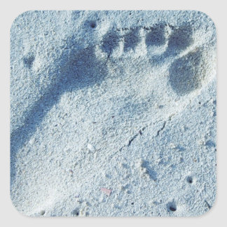 Footprint in the Sand Square Sticker