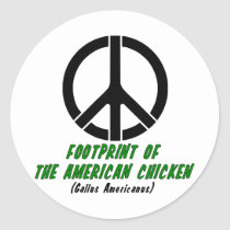 Footprint of the American Chicken (Style 2) Classic Round Sticker