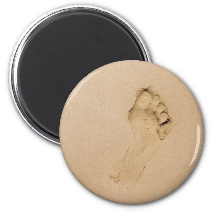 Footprint on the Beach 2 Inch Round Magnet