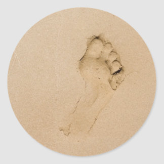 Footprint on the Beach Classic Round Sticker