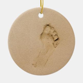 Footprint on the Beach Christmas Tree Ornaments