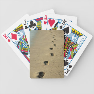 Footprints alongside the sea playing cards