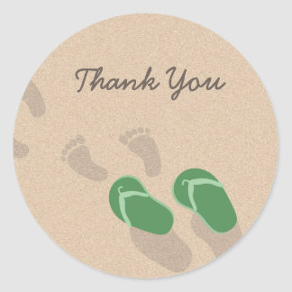 Footprints and Flip Flops on Sand Classic Round Sticker