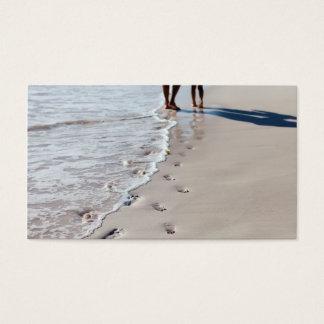Footprints at beach business card