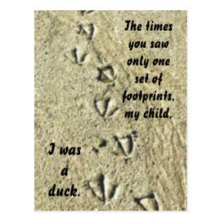 Footprints black postcard