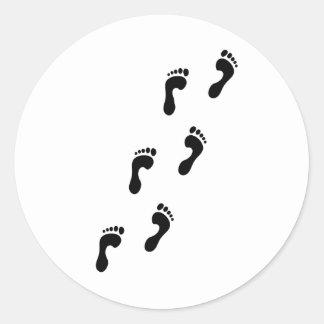 footprints classic round sticker