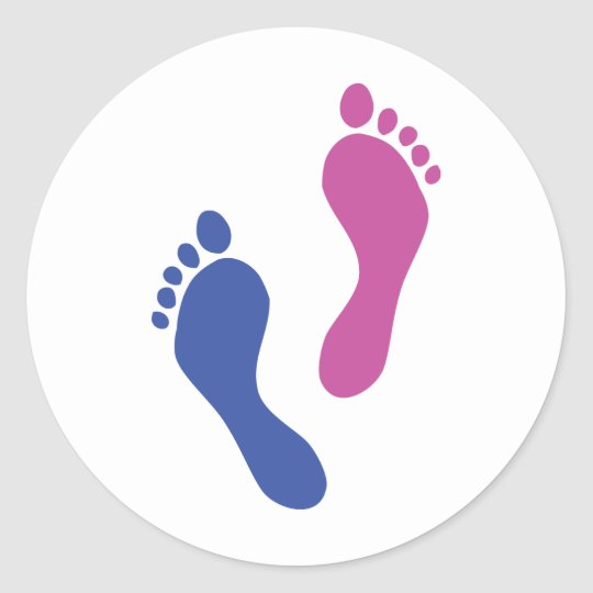 footprints colored classic round sticker
