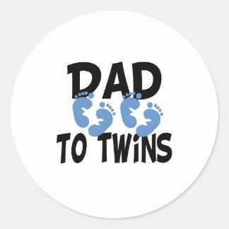 Footprints Dad to Twins Classic Round Sticker