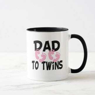 Footprints Dad to Twins (twin girls) Mug