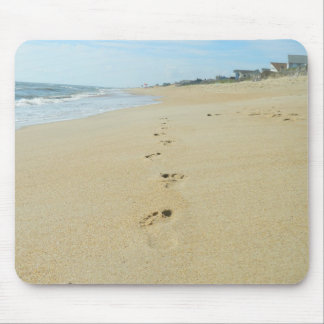 Footprints Down The Beach Mouse Pad