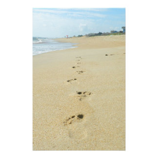 Footprints Down The Beach Stationery