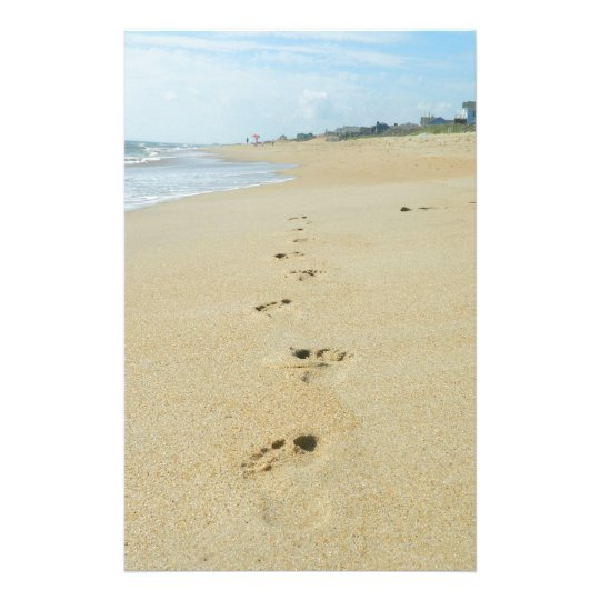 footprints down the beach stationery zazzle com