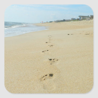Footprints Down The Beach Square Sticker
