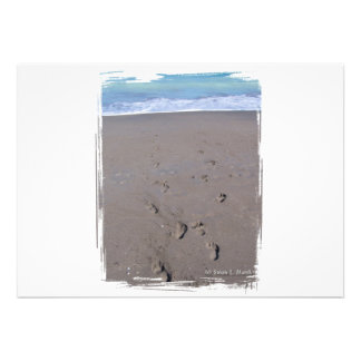 Footprints in beach sand blue ocean in back invitation