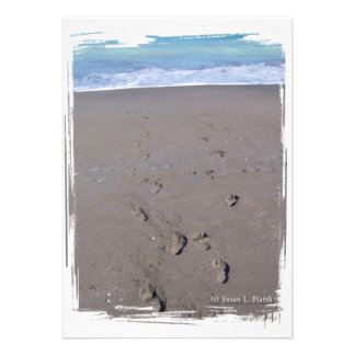 Footprints in beach sand blue ocean in back invitations