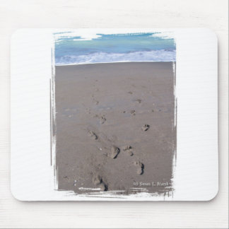 Footprints in beach sand blue ocean in back mousepads