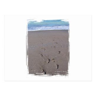 Footprints in beach sand blue ocean in back post card
