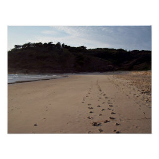 Footprints in beach sand posters