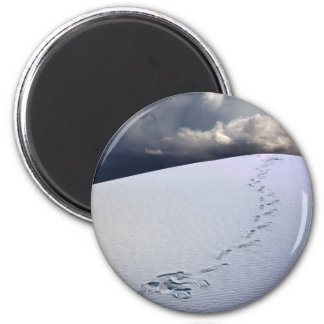 Footprints in desert sands 2 inch round magnet
