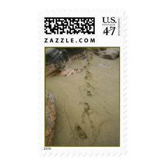 Footprints in Sand Postage Stamp